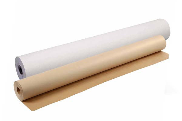 rouleaux de papier kraft coloris naturel blanc ou brun